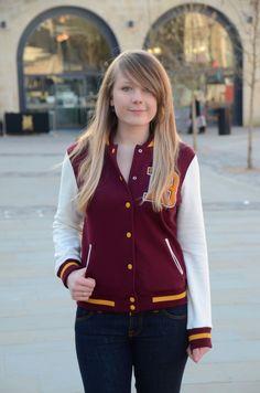 Burgundy Varsity Jacket With Jeans
