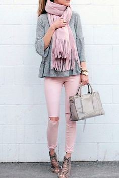 Pink Fringe Scarf / Grey Top / Pink Destroyed Skinny Jeans / Grey Laced Up Booties. Cozy Winter Outfits, Fall Outfits, Casual Outfits, Fashion Outfits, Work Outfits, Jeans Fashion, Emo Outfits, Fashion Boots, Trendy Fashion