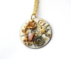 """Victorian Steampunk Necklace  """"The Nightingale and the Rose""""  by TimeMachineJewelry"""