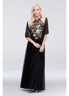 Metallic Embroidered Jersey Chiffon Halter Dress 59562D