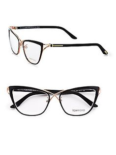 Ready for London Fashion Week?  London Designer - Tom Ford Eyewear Cat's-Eye Eyeglasses/Black #tomford