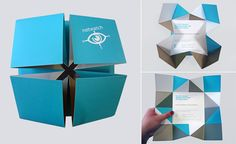 This fold design is awesome. The way each layer plays with color and the geometric design is eye catching. I feel like it would take so much patience to accomplish this. Graphic Design Company, Graphic Design Illustration, Layout Design, Print Design, Menu Design, Origami Invitations, Folders, Diy Cadeau, Origami Envelope
