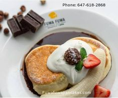 First Soufflé Pancake Shop from Tokyo to open in Toronto. Handcrafted Pancakes originated from Japan. Fuwa Fuwa means fluffy fluffy in Japanese and that is the feeling you'll get when having our pancakes. Souffle Pancakes, Breakfast Pancakes, Fluffy Pancakes, Banana Pancakes, Pancake Shop, Toronto Cafe, Fuwa Fuwa, Japanese Pancake, Organic Eggs