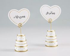Pink Wedding Cakes view larger picture - Kate Aspen's Gold Wedding Cake Place Card Holders are made from durable resin, designed to look like a three-tiered wedding cake. The included matching place cards can be displayed by a spiral wire atop each cake. Gold Wedding Favors, Gold Wedding Theme, Floral Wedding Cakes, White Wedding Cakes, Wedding Cake Designs, Bridal Shower Favors, Bridal Showers, Wedding Ideas, Wedding Planning