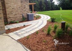 Adding borders and banding to your walkways will really enhance the aesthetics. Stone Walkway, Holiday Lights, Walkways, Landscape Lighting, Aesthetics, Exterior, Patio, Outdoor, Xmas Lights
