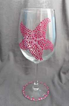 Hand Painted Starfish Wine Glass by TheeSpottedOwl on Etsy, $10.00 @VinoPlease #VinoPlease                                                                                                                                                                                 More
