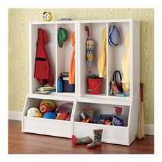 Land of Nod Cube Locker Hutch and Bin Base $179; Good for toy and coat storage, garage maybe??