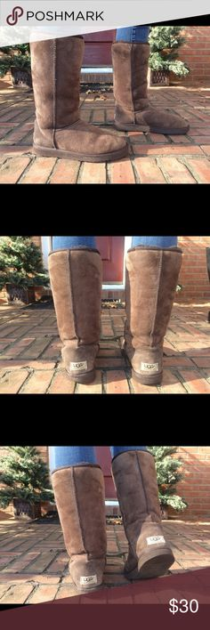UGG Tall Size 8 Brown Boots Gently worn. I never wore in rain or snow and always wore the boots with so ks so both the outside and inside are clean and in good shape! UGG Shoes Winter & Rain Boots