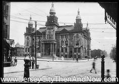 JERSEY CITY CITY HALL AT 280 GROVE STREET IN THE DOWNTOWN AREA.THIS BUILDING WAS ERECTED IN 1894.THE CUPOLAS AT THE TOP OF BUILDING WERE REMOVED YEARS LATER.BACK IN 1979,CITY HALL SUFFERED DAMAGE DUE TO A FIRE IN ONE OF THE ROOMS ON THE TOP FLOOR AND HAS SINCE BEEN RENOVATED ON SEVERAL OCCASIONS.