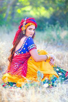 Braja Mandala Photography snaps the best trends from Gopi Skirts by Radhika! Garba Dress, Navratri Dress, Indian Attire, Indian Wear, Indian Style, Dandiya Dress, Indian Dance Costumes, Indian Women Painting, Indian Bridal Sarees