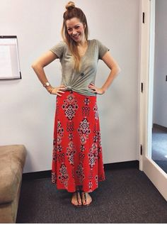 Super cute to knot a Classic Tee with a Maxi!  New inventory coming soon! Check out our page at: www.facebook.com/lularoejacquelineandnicole