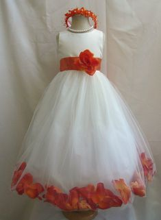 Flower Girl Dress IVORY/Orange Burnt PETAL Wedding Children Easter Bridesmaid Communion Orange Burnt Guava Green Sage Green Apple Gold