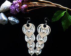 Macrame earrings DIY, beige macrame earrings, beaded earrings , handmade earrings, handmade jewelry, macrame jewellery, bridal earrings