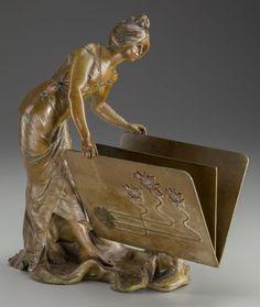 "AUSTRIAN ART NOUVEAU BRONZE FIGURAL LETTER HOLDER, ca. 1910, marked ""Hering"""