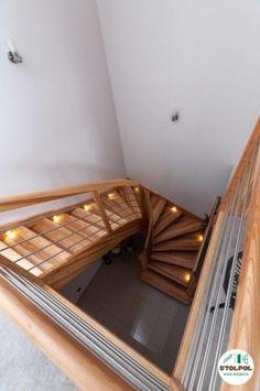 Schody samonośne, kolor naturalny, lampki led w policzku oraz balustrada połączenie drewna i metalu. Stairs, Led, Home Decor, Stairway, Decoration Home, Room Decor, Staircases, Home Interior Design, Ladders