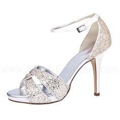"""Brautschuh """"Charlotte""""   vonRainbow Club. T  raumhafte Sandale für die Hochzeit mit hohem Absatz. Material: Satin / Silber-Glitter Farbe: ivory Farbinfo:IVORY = helles creme auch..."""