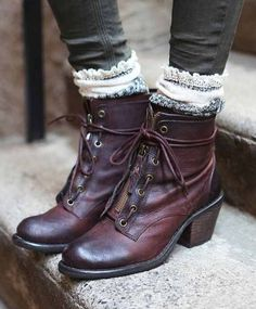 Leather lace up boots.