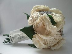 Ivory Romance Vintage Inspired Handmade Bridal Bouquet with Vintage Brooches
