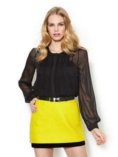 Diane von Furstenberg Fannie Pleated Woven Blouse & Elley Cotton Mini Skirt