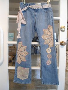 Size 13 Upcycled Lace and Doilie Extra Pocket Hippie Redesigned Blue Jeans with Lace Belt by LandofBridget, $38.00