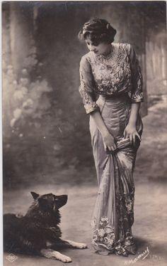 Beautiful Edwardian Lady and her Dog..original vintage french postcard..real photo..paper ephemera