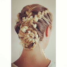 Braided updo with flowers!