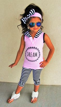 """Dream"" Black/White Stripe Hoodie Tank Set #boutique-outfits #new #newborn-clothing #perfect-sets #spring-line"
