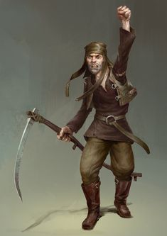 m npc Farmer Vigilante Leather Armor Scythe by Bjorn Hurri lg Fantasy Male, Fantasy Rpg, Medieval Fantasy, Character Concept, Character Art, Concept Art, Dnd Characters, Fantasy Characters, Fantasy Inspiration