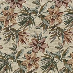 F867 Red Green And Ivory Floral Chenille Upholstery By The Yard