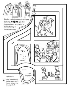 A black-and-white line-art maze representing Nephi's journey to get the brass plates.