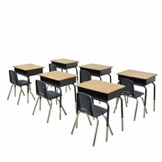 Set of 6 Open Front Metal Storage Box Desks with 12''H Navy Colored Chairs, ELR-SPC-24004 by ECR4Kids   BizChair.com