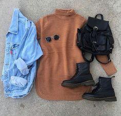90's outfit •dark burnt orange turtleneck •denim worn out jacket •vintage sunglasses •dr. martens •black mini backpack