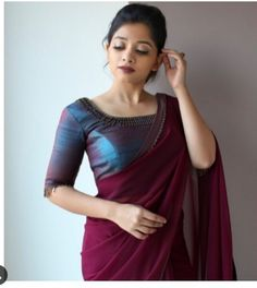 Magenta Colored Beautiful Pure Silk Touch Original Fabric Designer Saree With Blouse - Kerala Saree Blouse Designs, Saree Blouse Neck Designs, Saree Blouse Patterns, Fancy Blouse Designs, Indian Blouse Designs, Designer Blouse Patterns, Sari Design, Designer Kurtis, Designer Sarees