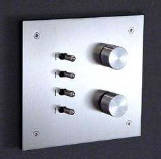 LUMEN8 Light Switches Range:� Q-BIC Finish: Stainless Steel Lever Option: Toggle 2 rotary dimmers + 4 levers. Dimmers can be self-switching.