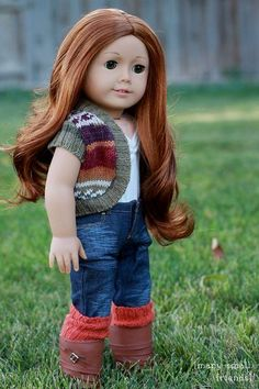 "Free Autumn Shrug sewing pattern for American Girl or 18"" doll.  Upcycle a thrifted sweater!"