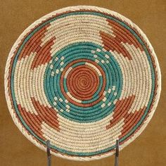 Southwestern, Santa Fe designer hand woven and hand coiled baskets in southwest Indian designs that are great for your western or southwestern home decor. American Indian Decor, Indian Home Decor, Hanging Wall Baskets, Southwest Home Decor, Native American Baskets, Indian Baskets, Tapestry Bag, Rustic Crafts, Basket Decoration