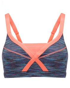 Sweaty Betty | Infinity Bra | Blue Morpho Monarch Orange | A fashion-forward, mid-support bra with a flattering statement silhouette. Contrast colour adjustable straps, back clasp with open keyhole detail and power mesh for added breathability. Updated for SS15 with an improved fit and Sweaty Betty's iconic Space Dye print.