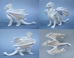 Custom White Polymer Clay Dragon by MiniMythicalMonsters on DeviantArt