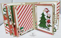 Christmas Mini Albums, Christmas Minis, Mini Album Tutorial, Santas Workshop, Card Making Tutorials, December Daily, Graphic 45, Mini Books, Stampin Up