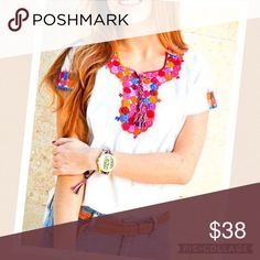 🎉 New Ethnic Boho Embroidered Top Colorful New handmade blouse made in Chiapas, Mexico. Short sleeves, v-neck, embroidery on neck and sleeves. Fabric is 100% cotton manta, very fresh. Medium. Cielito Lindo  Tops Blouses