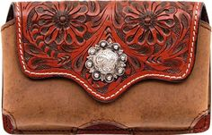 (3DB-PH512) Western Tan Floral Tooled/Brown Leather Cell Phone Holder for iPhone 4 and Blackberry