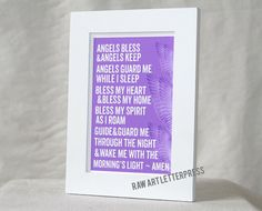Bedtime Prayer Angels Bless and Angels Keep by rawartletterpress