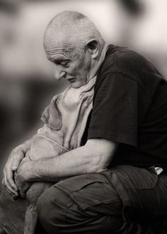 Tender relationship between Man and his Dog - Kris Vanderveken