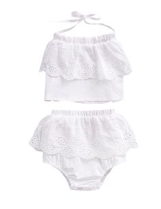 c26657eec6e98 LaLaMa Newborn Baby Girls Cute Outfit Halter Ruffled Top and Culotte Clothes  Set Hollow Out -