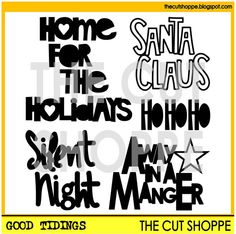 The Good Tidings cut file set includes 5 Christmas by TheCutShoppe