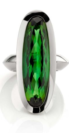 Green Tourmaline ring in 18k Oro Grigio (White gold) by Jochen Pohl