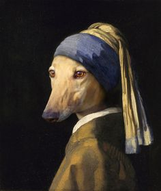 Greyhound Without a Pearl Earing  8X10 by jhovenstine on Etsy
