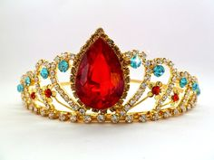 Elena Of Avalor Crown,PRINCESS ELENA TIARA,Princess Crown,Princess Elena Rhinestone Tiara,Princess Elena Halloween Costume Red & blue crown by StarDustSpark on Etsy https://www.etsy.com/listing/474334873/elena-of-avalor-crownprincess-elena