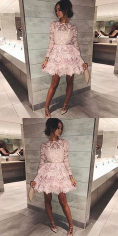 Pink short homecoming dresses, long sleeves lace short prom dresses, lace tiered short homecoming dress with sleeves