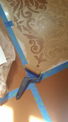 Concrete stenciling - roller brush should feel nearly dry before stenciling or paint will seep under stencil Stenciled Concrete Floor, Painted Concrete Floors, Stained Concrete, Tulum, Stencil Painting, Floor Painting, Stencils, Floor Cloth, Wall Molding
